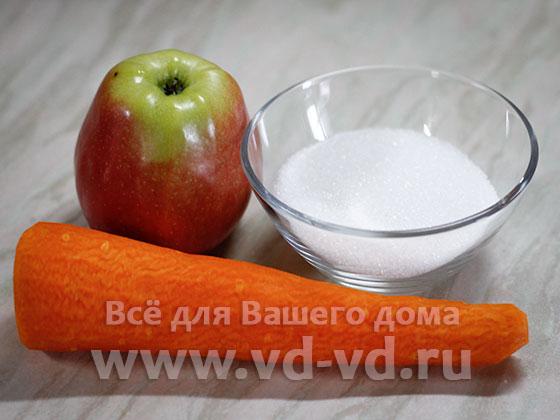 ингредиенты для салата из моркови и яблока