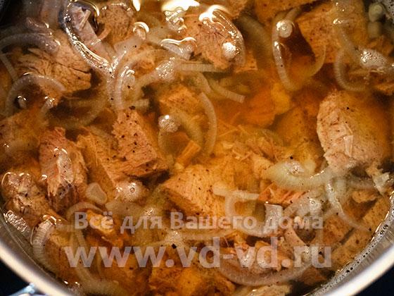 мясо для бешбармака отваренное с луком
