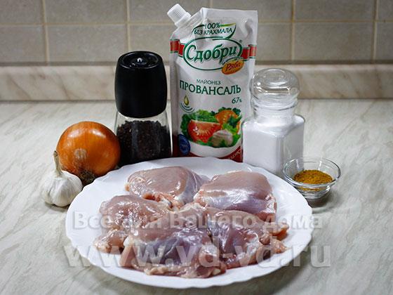 ингредиенты для курицы тушёной в мультиварке