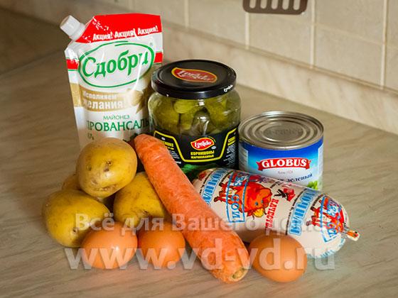 Игредиенты для салата Оливье