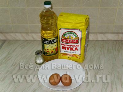 Тесто для лазаньи, ингредиенты