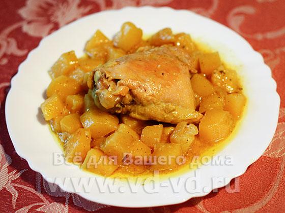 Курица с картошкой в мультиварке скороварке рецепты с фото