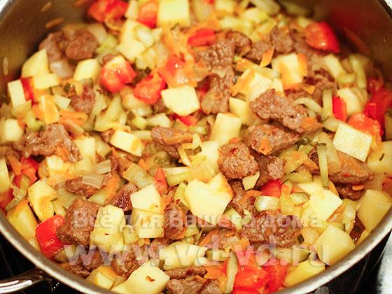 азу с овощами и мясом